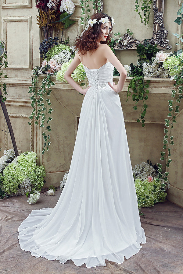 Long Sweetheart A-line White Chiffon Wedding Dress with Slit