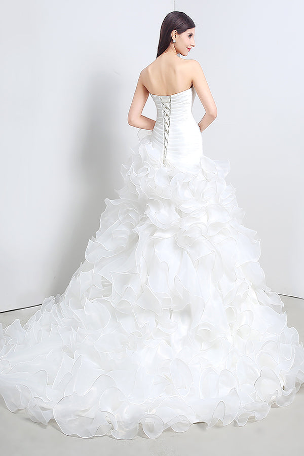 Princess Long Strapless A-line White Wedding Dress with Ruffles