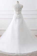 White Appliques Long Wedding Gowns with Beading Belt