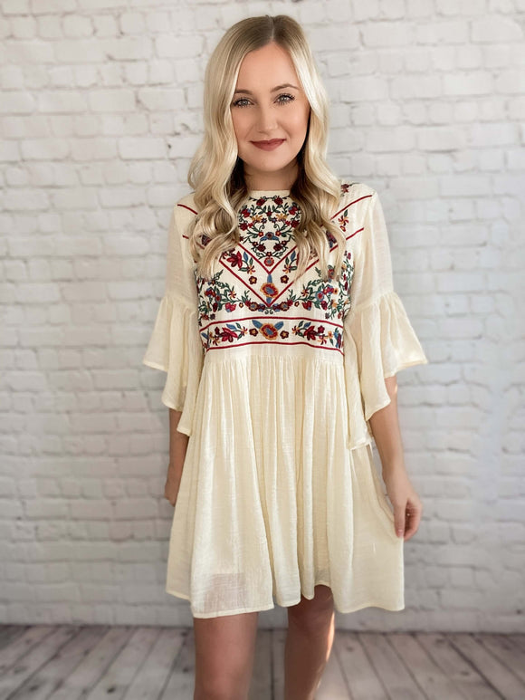 Natural Color Floral Boho Embroidered Babydoll Dress 3/4 Bell Sleeves Keyhole Back Relaxed Fit Lined Non Sheer True to Size 70% Rayon, 30% Polyester