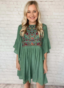 Sage Color Floral Boho Embroidered Babydoll Dress 3/4 Bell Sleeves Keyhole Back Relaxed Fit Lined Non Sheer True to Size 70% Rayon, 30% Polyester