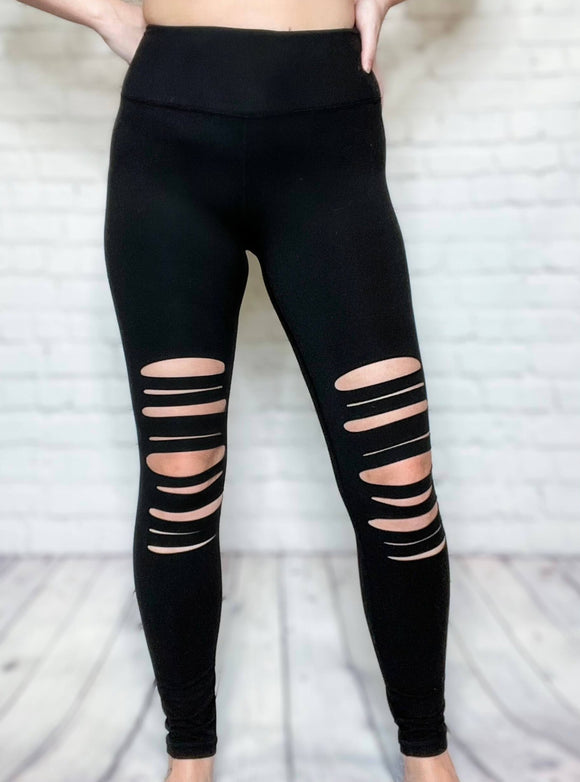 Black Laser Cutout High Waisted Yoga Stitch Leggings Wide Waistband  Non Sheer 84% Poly Microfiber, 16% Spandex