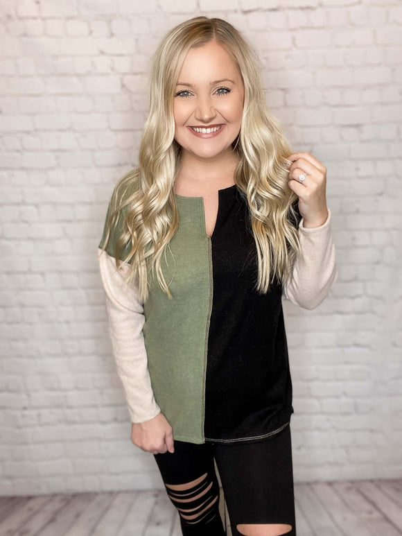 Black and Olive Lightweight Colorblock Sweater Knit Top