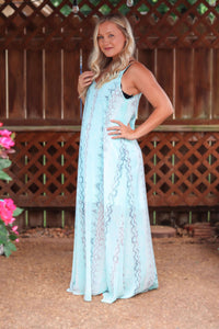 Blue Snakeskin Print Spaghetti Strap V-Neck Maxi Dress Partially Lined Semi Sheer  V-Neck in Front and Back Relaxed Flowy Fit True to Size Bump/Maternity Friendly 100% Polyester