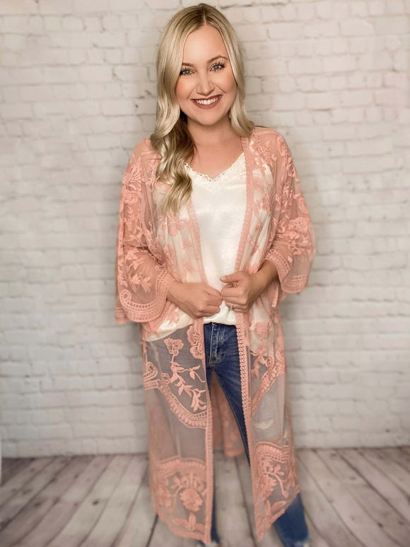 Blush Embroidered Boho Lace Sheer Duster Kimono Oversized Sleeves Loose Oversized Fit 100% Polyester