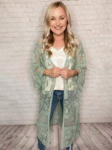 Light Sage Embroidered Boho Lace Sheer Duster Kimono Loose Oversized Fit 100% Polyester