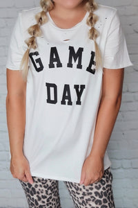 White Game Day Distressed Graphic T-Shirt Side Slits Loose Relaxed Fit True to Size Made in USA 100% Cotton