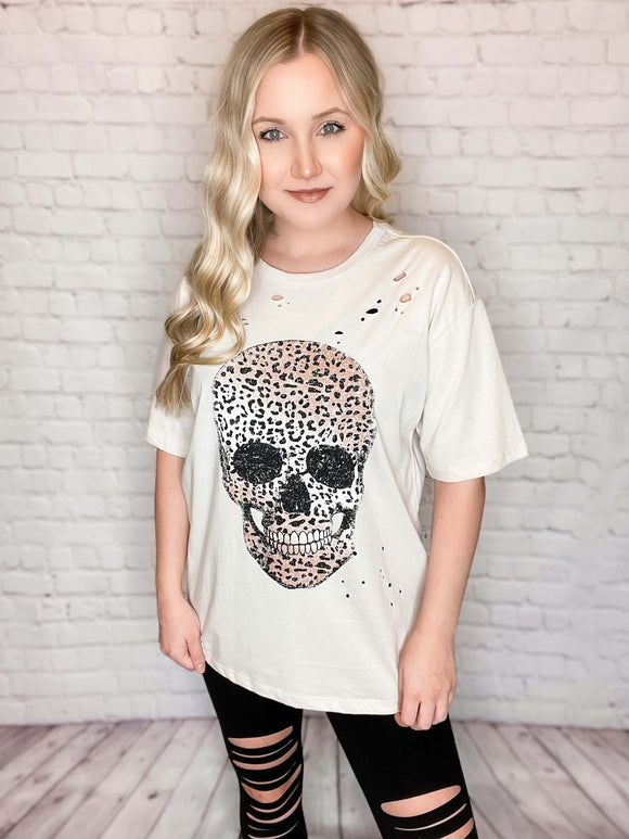 Leopard Print Skull Distressed Graphic T-Shirt Loose Relaxed Fit True to Size 100% Cotton