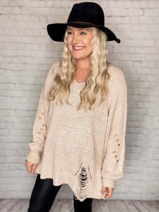 Cream Distressed V-Neck Sweater Cut Out Back Details Side Slits Relaxed Loose Fit 45% Polyester, 55% Acrylic