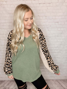 Dusty Sage, Cream Leopard Print Sleeves Waffle Top  Long Balloon Sleeves V-Neck Relaxed Loose Fit True to Size 100% Rayon