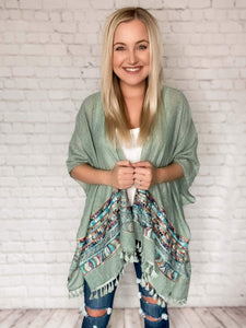 Sage Kimono Embroidered Geometric Print Tassels on Bottom Hem Side Slits Boxy Oversized Fit One Size 80% Polyester, 20% Cotton