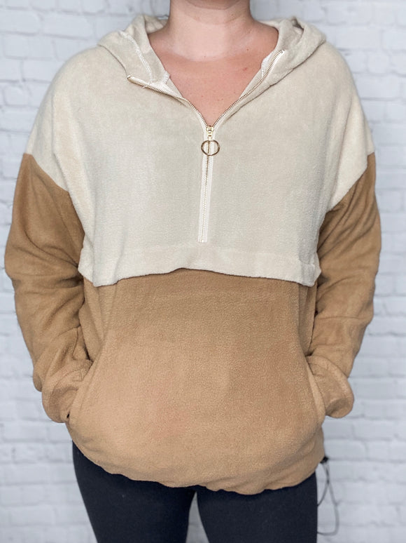 Taupe and Camel Colorblock Fleece Pullover 3/4 Gold Colored Zipper Detail Hoodie Pouch Pocket Elastic Drawstring at Bottom Lightweight Knit 100% Polyester Relaxed Fit
