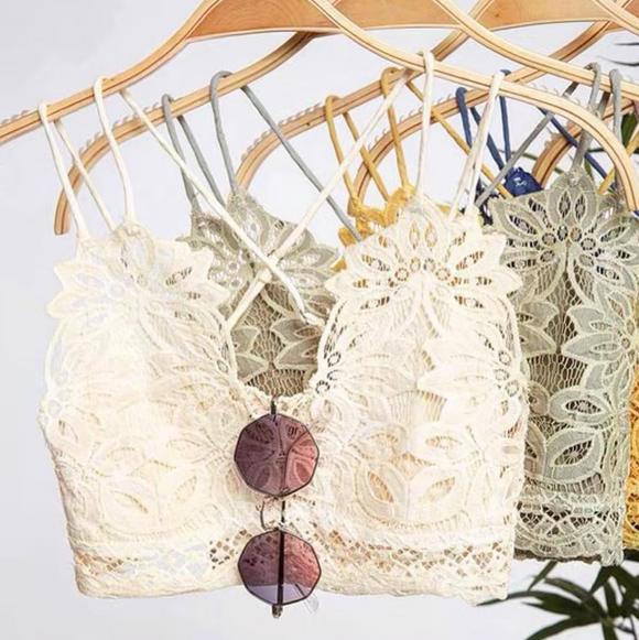 Strappy Floral Lace Bralette in Ivory