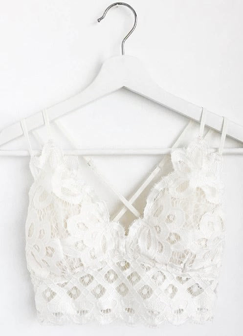 Padded Strappy Floral Lace Bralette in White