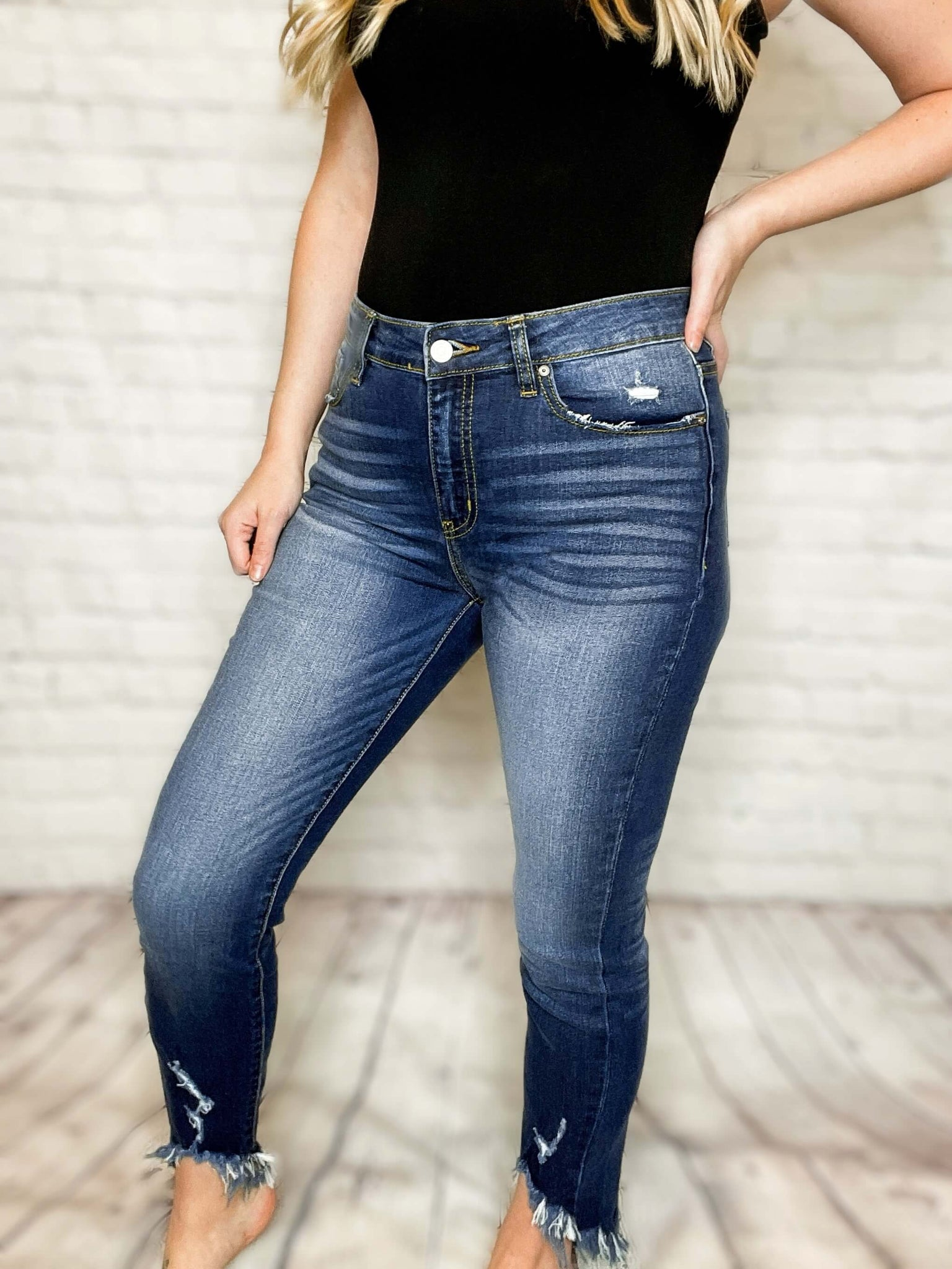 Kancan Distressed Ankle High Rise Skinny Jeans In Dark Wash Bmaes Boutique