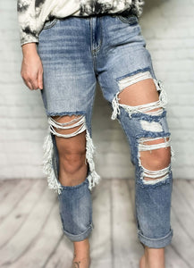 "High Rise Medium Light Wash KanCan Jeans Distressed Boyfriend Jeans Relaxed Fit True to Size 100% Cotton 10"" Rise, 27"" Inseam"