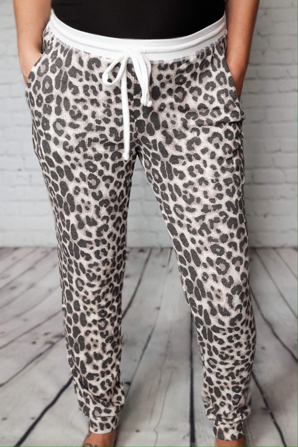 Leopard Print Thermal Jogger Pants Elastic Drawstring Waist Side Pockets 80% Polyester, 15% Rayon, 5% Spandex