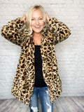 Leopard Print Faux Fur Teddy Coat Medium Weight Notched Collar Open Front 2 Side Pockets Relaxed Silhouette Long Line Bodice 100% Polyester