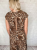Leopard Animal Print Short Sleeve Jumpsuit Cinched Elastic Waist Front Tie Open Slit Back with Button Closure Non Sheer True to Size 95% Polyester, 5% Spandex