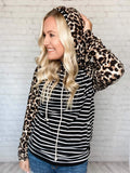 Black/White Stripes & Leopard Print Hoodie Double Hood Side Zipper Detail Two Pockets Drawstrings Double Pockets True to size 95% Polyester, 5% Spandex