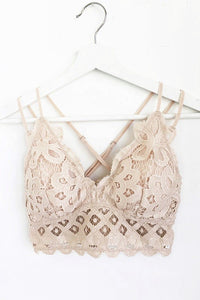 Padded Strappy Floral Lace Bralette in Nude