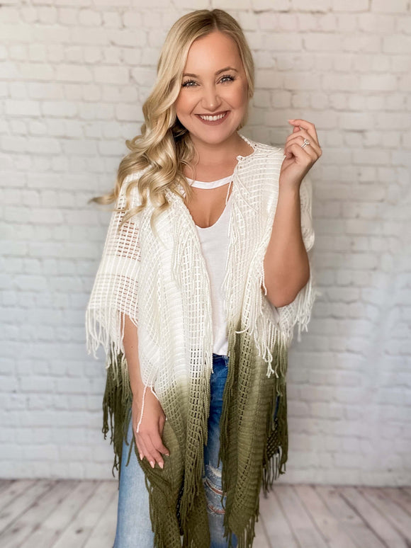 Olive & Cream Ombre Kimono Fringe Details Cutout Back Side Slits Boxy Oversized Fit One Size 100% Acrylic