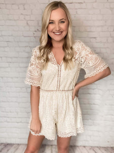 This open back lace romper is the perfect outfit for a bride-to-be! It's such an elegant and classy romper for your special occasions. This natural colored romper features lace throughout, an open sheer back with a pearl button closure, a v-neckline, is semi-lined in the bust and fits true to size. This is the perfect bridal outfit to wear to your bridal shower, bachelorette party or even your rehearsal dinner!