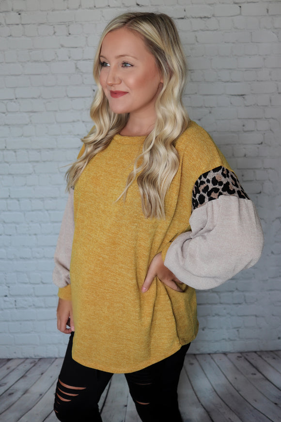 Taupe, Mustard, Leopard Print Balloon Sleeves Lightweight Relaxed Knit Top Oversized Fit True to Size 82% Polyester, 14% Rayon, 4% Spandex