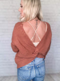 Clay Color Twisted Open Back Sweater Relaxed Fit Dolman Sleeves V-Neckline 100% Acrylic