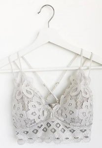 Padded Strappy Floral Lace Bralette in Grey Dove