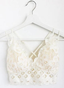 Padded Strappy Floral Lace Bralette in Off White