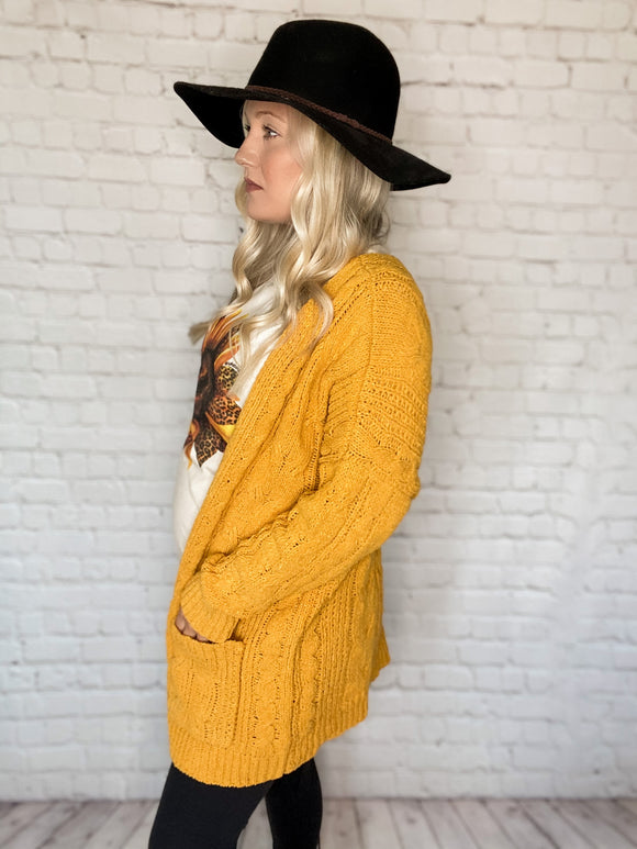 Mustard Chunky Cable Knit Soft Cardigan Open Front Side Pockets Relaxed Fit 50% Viscose, 30% Polyester, 20% Nylon