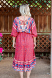 Red Boho Floral Paisley Tiered High-Low Midi Dress Double V-Neck Elastic Ruffle Sleeves Elastic Waist Tie Back Detail Relaxed Flowy Fit True to Size Bump/Maternity Friendly