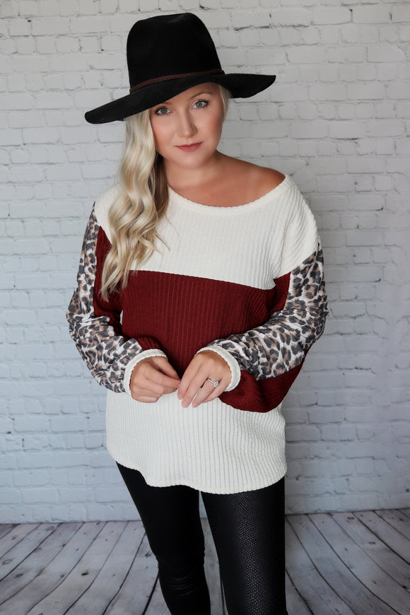 Oatmeal, Wine, Leopard Print Long Cuffed Sleeves Ribbed Knit Top Relaxed Fit True to Size 97% Polyester, 3% Spandex Made in the USA