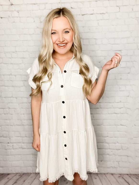 Short Sleeve Button Front Ruffle Tiered Dress in Cream