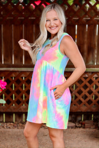 Rainbow Tie-Dye Sleeveless Tank Dress Empire Waist Scoop Neck Side Pockets Relaxed Flowy Fit True to Size Bump/Maternity Friendly 65% Polyester, 35% Rayon