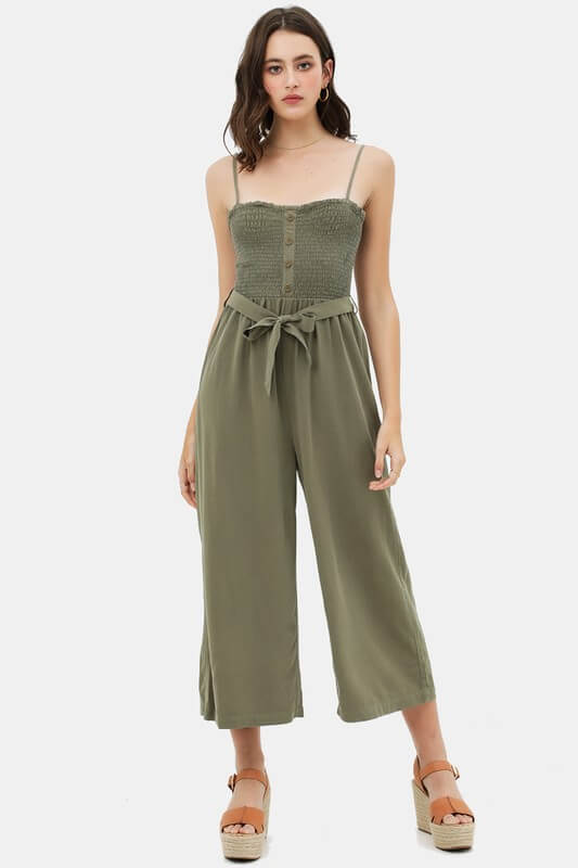 Smocked Flare Leg Jumpsuit with Waist Tie and Buttons in Olive