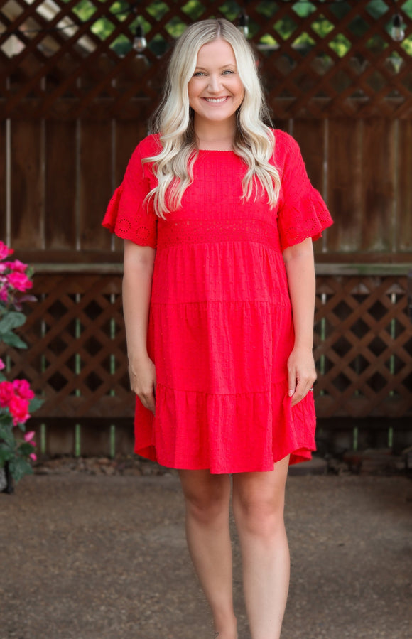 Red Tiered  Babydoll Dress Lace Trim Sleeve Lace Details Textured Dot Details Slip On/Pull On Relaxed Flowy Fit True to Size Bump/Maternity Friendly 55% Cotton, 45% Rayon