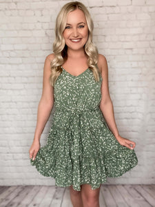 Tiered Boho Cami Dress in Sage