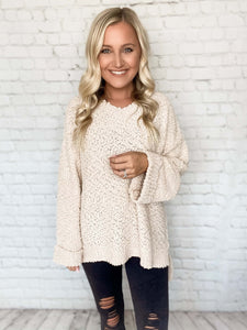 Oversized V-Neck Popcorn Sweater in Taupe