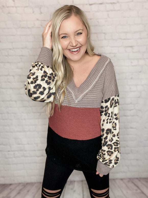 Waffle Colorblock Top with Leopard Print Puff Sleeves in Burgundy