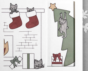 tree cat Christmas card