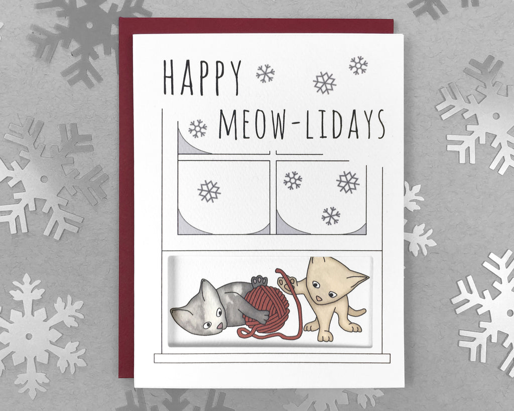 cats playing holiday card