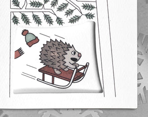 hedgehog holiday card