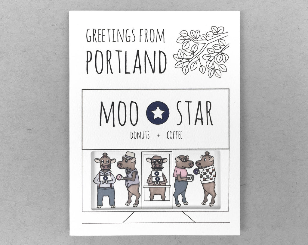 Portland card Blue Star cow