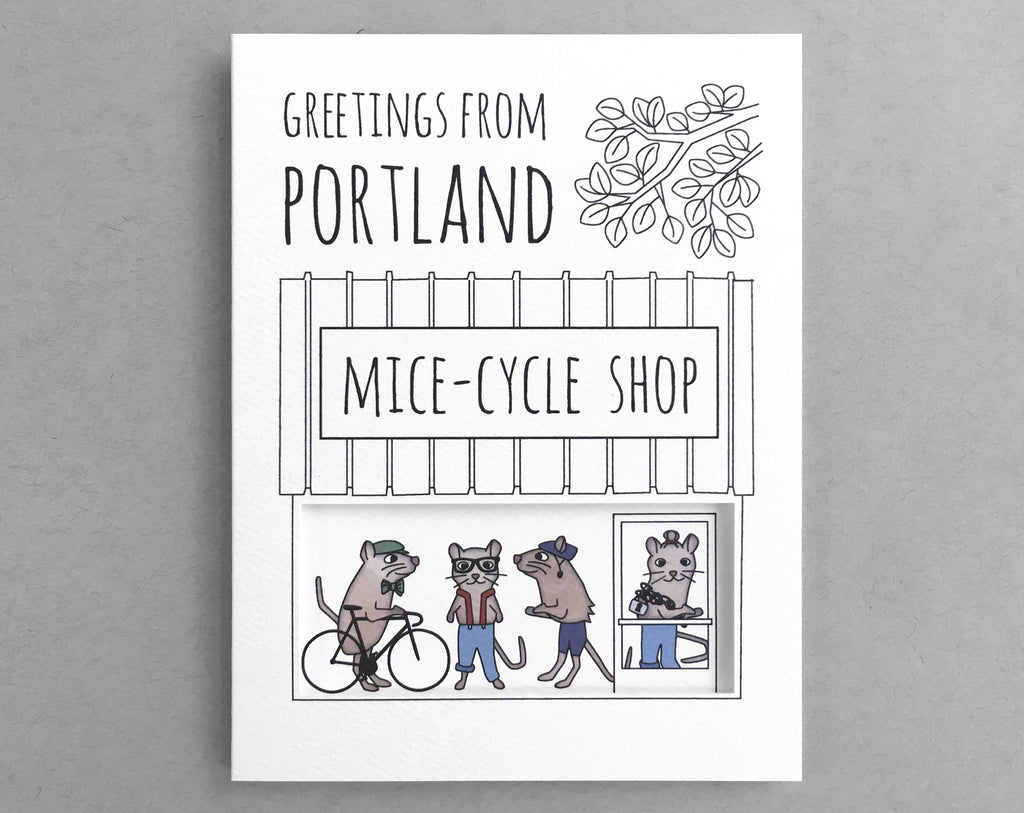 Portland card bicycle shop mouse