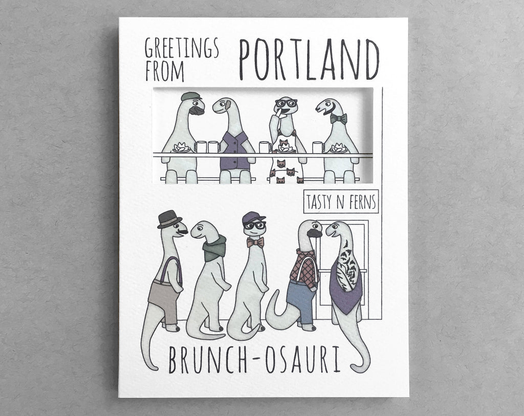 Portland card brunch dinosaur