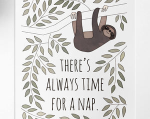 sloth art print [there's always time for a nap]