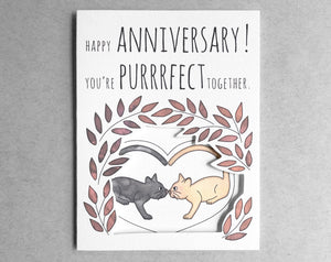 cat anniversary card [you're perfect together]