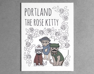 hipster cats Portland card